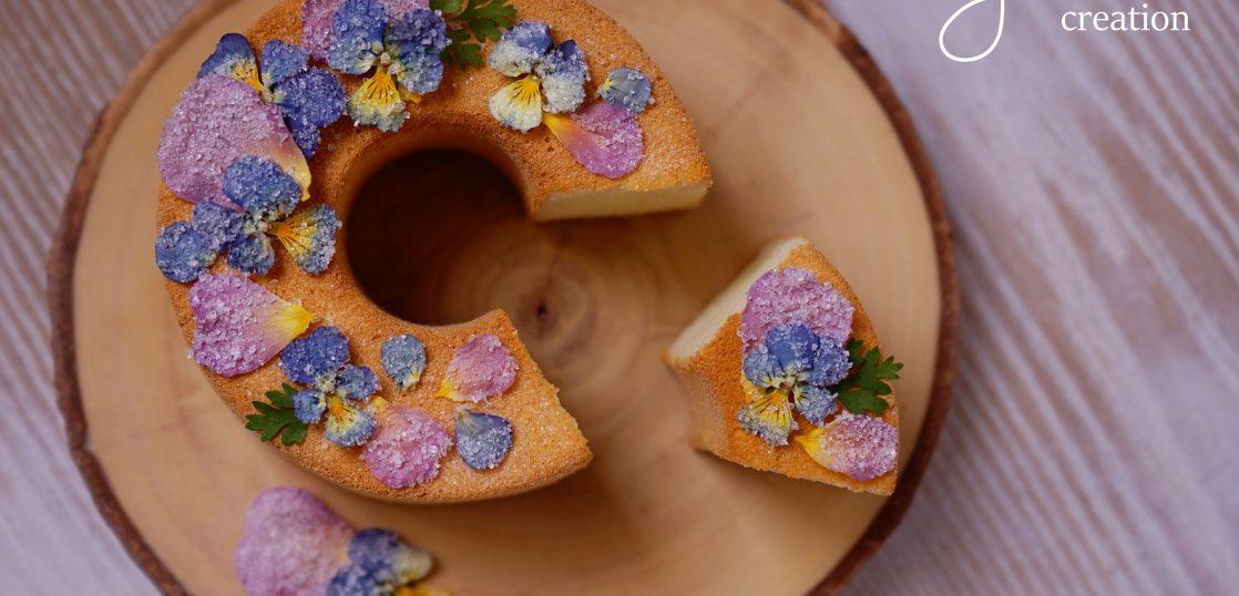 「ビオラとばらのクリスタリゼ&シフォンケーキ作り」